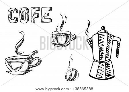 Coffee elements set. Hand drawn vector stock illustration. Black and white whiteboard drawing.