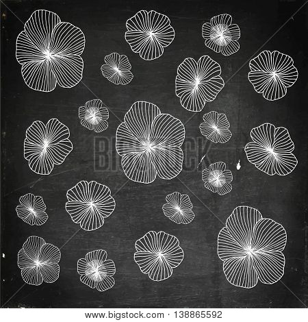 Set of Vectorized Flowers. Hand drawn vector stock illustration. Chalk board drawing.