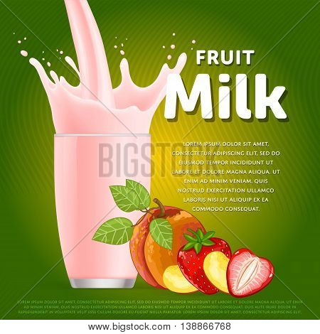 Fruit mix sweet milkshake dessert cocktail glass fresh drink in cartoon vector illustration. Fruit milk splash. Milk cocktail dessert. Delicious drink. Glass of fruit milkshake. Sweet milk drink. Milk splash in a glass. Milkshake.