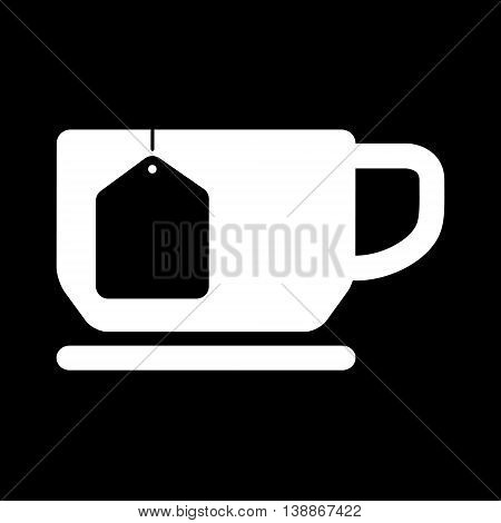 Cup of tea with tea bag blank label . Vector flat illustration