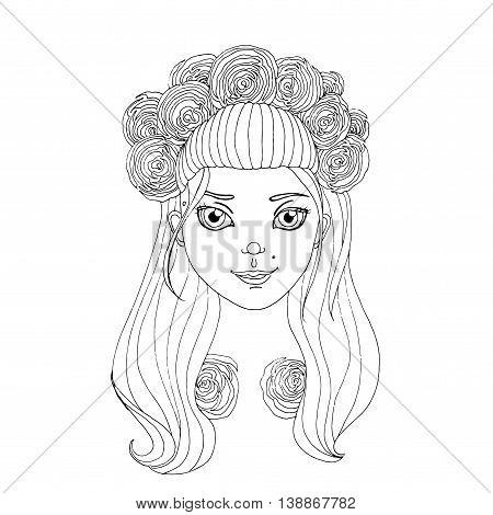 Young girl in wreath. Hand drawn vector stock illustration. Black and white whiteboard drawing.