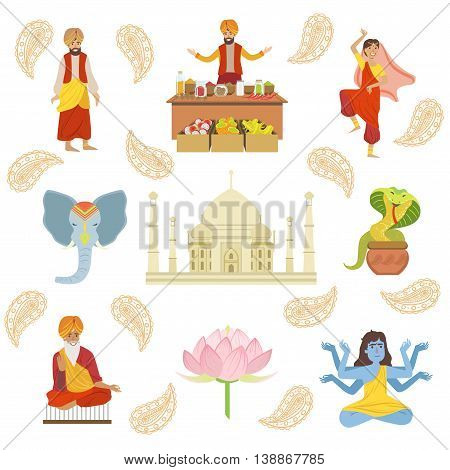 Yoga, Taj Mahal And Other Indian Cultural Symbol Simplified Cartoon Style Drawings On White Background