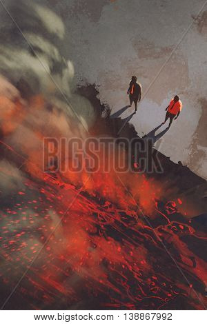 two men standing at the edge of the volcanic rock cliff with lava, illustration, digital painting