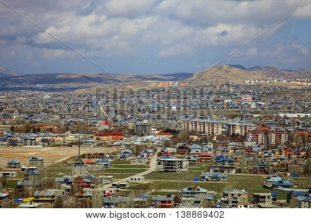 Panoramic View of the Van, Turkey. Spring.