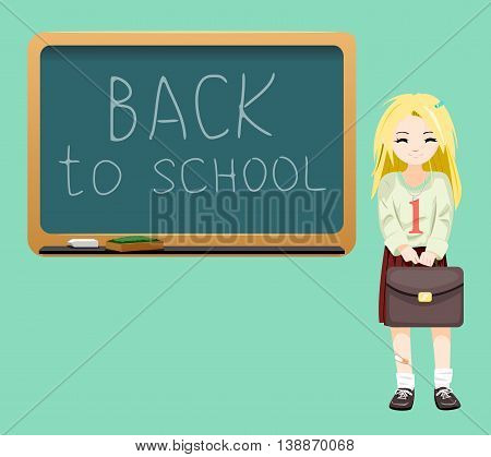 Back to school board cheerful school girl satchel first September Cartoon Design Vector Illustration