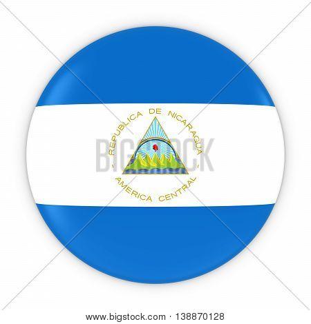 Nicaraguan Flag Button - Flag Of Nicaragua Badge 3D Illustration