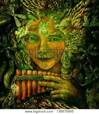 forest fairy shaman with panflute and crystal, detailed colorful illustration.