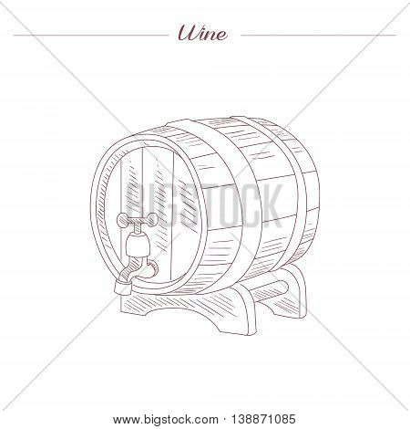 Wine Tun Hand Drawn Realistic Detailed Sketch In Beautiful Classy Style On White Background