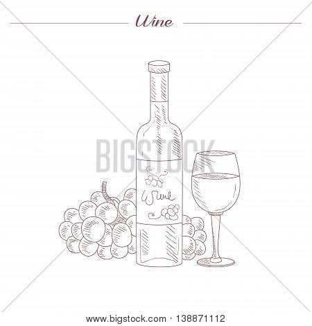 Wine Bottle And Glass Hand Drawn Realistic Detailed Sketch In Beautiful Classy Style On White Background