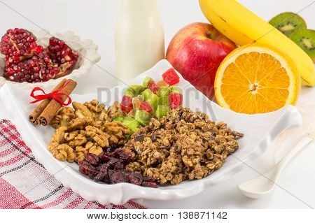Granola Muesli With Fruit For Healthy Breakfast