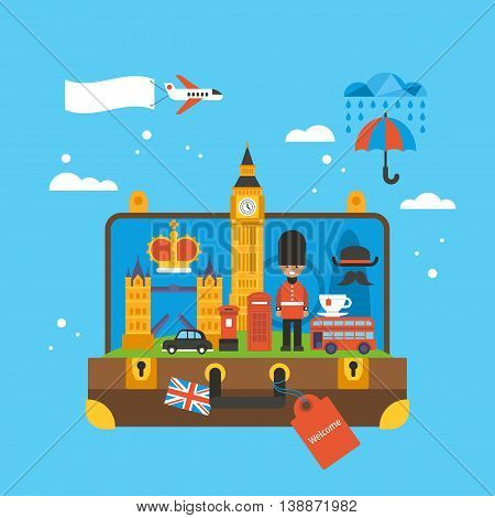 Travel To London, Great Britain Concept With Landmark Icons Inside Suitcase. Flat Elements For Web G