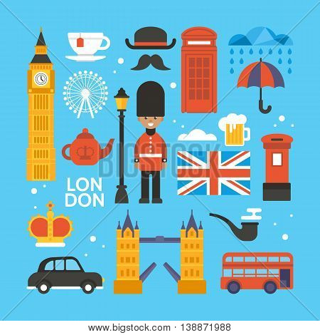 London, Great Britain Flat Elements For Web Graphics And Design. Isolated Vector Illustration