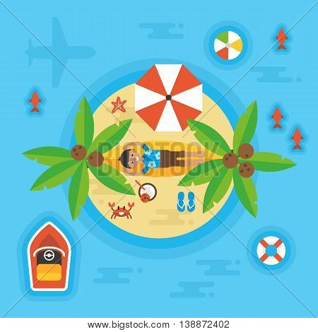Summer Holiday Vacation Concept With Man On Desert Island. Overhead View. Vector Illustration