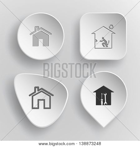 4 images: homes, toilet, workshop. Home set. White concave buttons on gray background. Vector icons.