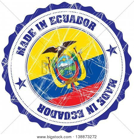 Made in Ecuador grunge rubber stamp with flag