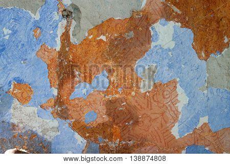 old blue and orange peeled wall background