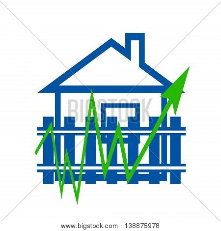 Green  arrow sign in the background houses . The concept of price changes on the real estate market .