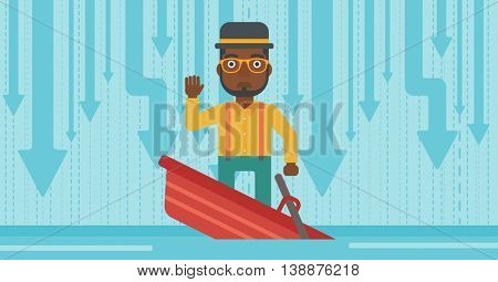 An african-american scared businessman standing in a sinking boat and asking for help. Concept of business bankruptcy. Vector flat design illustration. Horizontal layout.
