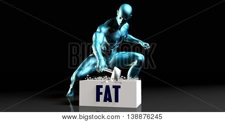 Get Rid of Fat and Remove the Problem 3D Render Illustration