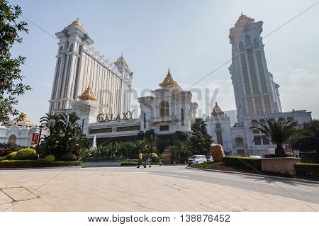 Taipa, Macau - February 2, 2015: Galaxy Hotel is a sprawling white-and-gold complex of low-rises and high-rise towers, this palatial resort in the Cotai district