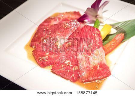Freshness Japanese wagyu beef rib meat BBQ yakiniku