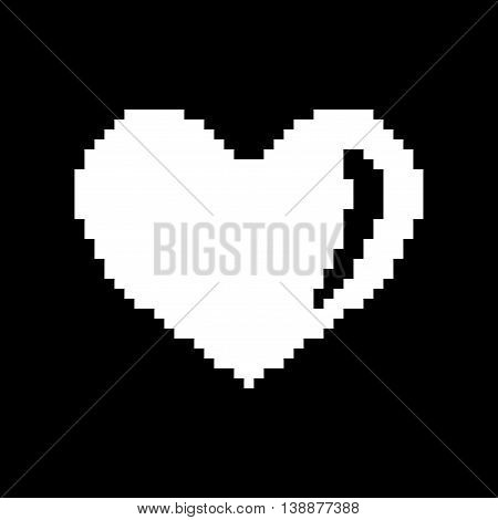Sign pixel heart. Image of love. White icon isolated on black background. Monochrome romantic symbol. Logo for game. Light health content. Mark of valentine. Stock vector illustration