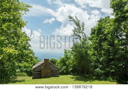 A view of a cabin in the foothills of the Blue Ridge Mountains in Franklin County Virginia