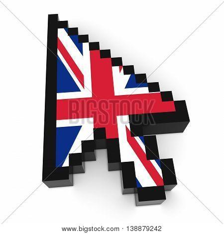 Uk Flag Arrow Cursor Pixelated Computer Pointer 3D Illustration