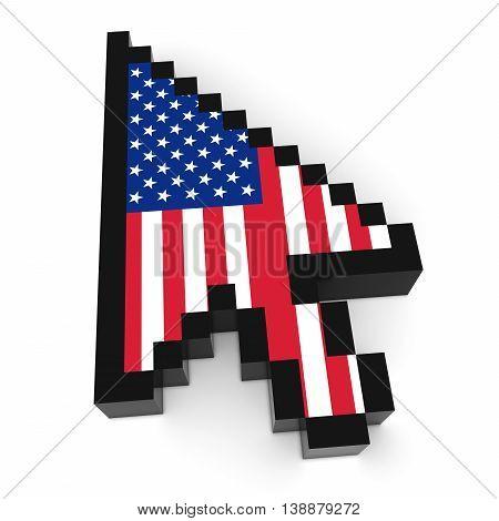 Us Flag Arrow Cursor Pixelated Computer Pointer 3D Illustration
