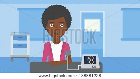 An african-american woman taking care of her health and checking her blood pressure with digital meter. Vector flat design illustration. Horizontal layout.