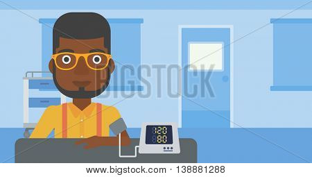 An african-american man taking care of his health and checking his blood pressure with digital meter. Vector flat design illustration. Horizontal layout.