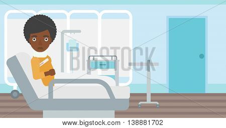 An african-american woman with neck brace lying in bed in hospital ward and suffering from pain. Vector flat design illustration. Horizontal layout.