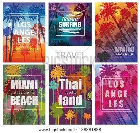 Exotic Travel Backgrounds with Palm Trees .  Nature Prints for T-shirt.