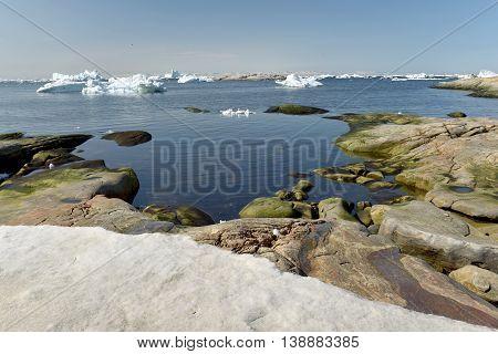 Beautiful huge icebergs at Ilulissat, Greenland on the north pole