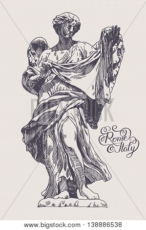 original sketch ink drawing of marble statue of angel from the Sant'Angelo Bridge in Rome, Italy with hand lettering inscription, vector illustration