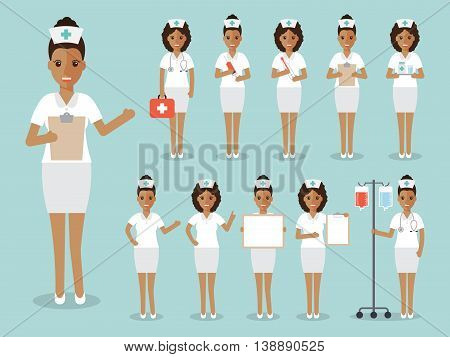 Group of black female doctors African nurses and medical staff people. Women medical team concept in flat design people character set.