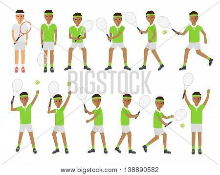 Black tennis sport athletes African players playing training and practicing with tennis racket. Flat design people characters.