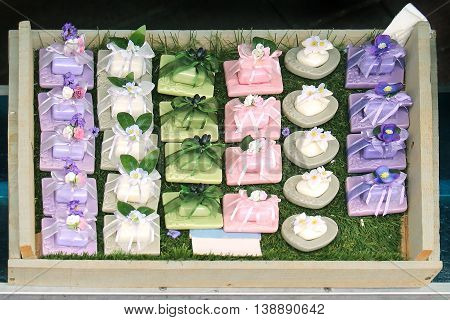 Natural hand made soap cosmetics on market stall