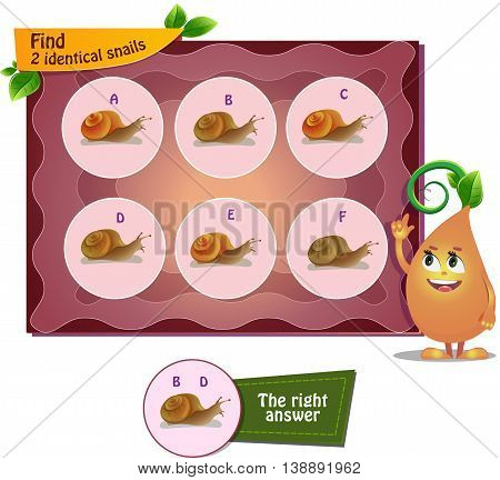 visual game for children . Task to find 2 identical snails