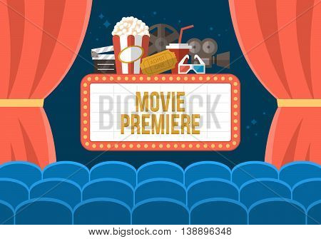 Movie premiere poster deisgn with cinema curtains seats and sign. Flat stylish vector illustration