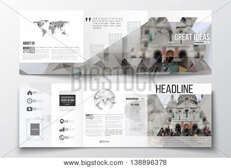 Vector set of tri-fold brochures, square design templates with element of world map, globe. Polygonal background, blurred image, view of cathedral Sakre-Ker, Paris cityscape, triangular vector texture