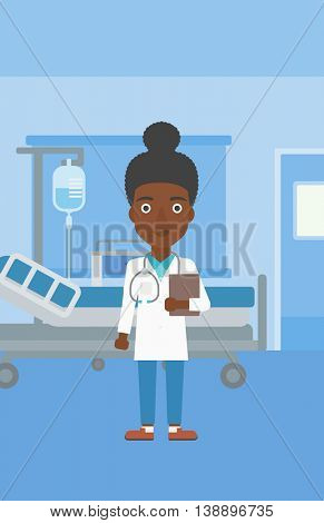 An african-american young female friendly doctor with stetoscope standing in hospital ward and carrying folder of patient or medical information. Vector flat design illustration. Vertical layout.