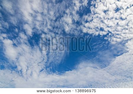 View of natural blue sky with Cirrocumulus Clouds formation on a good weather day