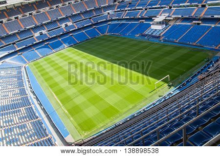 MADRID SPAIN - MAY 14 2009: Santiago Bernabeu Stadium of Real Madrid on May 14 2009 in Madrid Spain. Real Madrid C.F. was established in 1902. It is the best club of XX century according to FIFA.