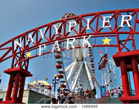 The Entrance To Navy Pier Park In Chicago, Illinois