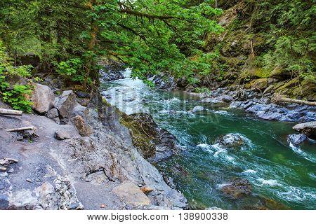 Mountain River. Robe Canyon Historic Park - Lime Kiln Trail