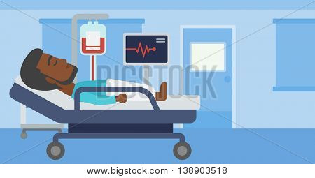 An african-american man lying in bed at hospital ward. Patient with heart rate monitor and equipment for blood transfusion in medical room. Vector flat design illustration. Horizontal layout.