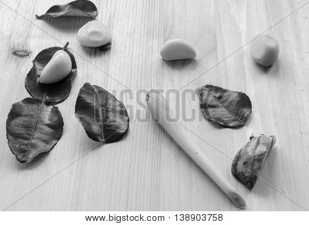 Abstract Design Background Vegetables On A Wooden Background. Black And White Tone