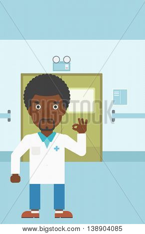 An african-american doctor in medical gown showing ok sign in the hospital corridor. Vector flat design illustration. Vertical layout.
