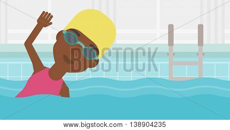 An african-american sportswoman wearing cap and glasses swimming in pool. Professional female swimmer in swimming pool. Vector flat design illustration. Horizontal layout.